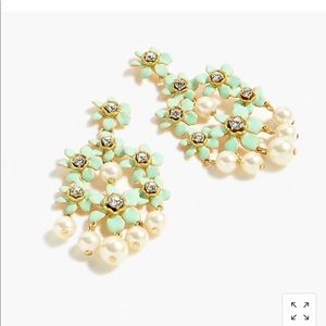 J.crew pearl and crystal floral chandelier earring